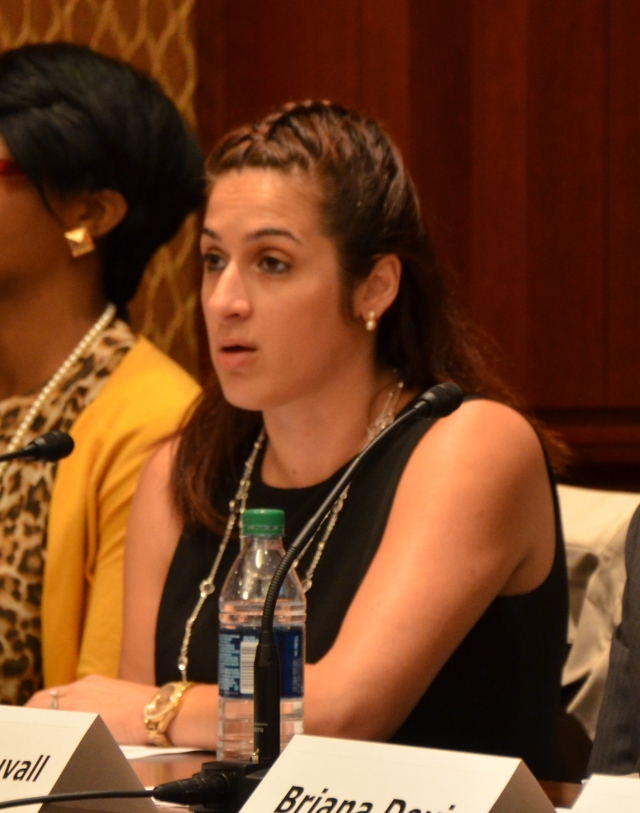Former CCAI Foster Youth Intern, Maurissa Sorensen, presents her recommendations at the report briefing in July.